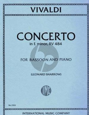 Vivaldi Concerto e-minor RV 484 (F.VIII n.6) Bassoon-Piano (Sharrow)