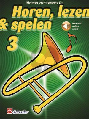 Oldenkamp Kastelein Horen, Lezen & Spelen Vol.3 Methode Trombone Bassleutel (Bk-Audio Online)