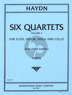 Haydn 6 Quartets Vol.2 for Flute, Violin, Viola and Violoncello (Parts) (edited by Jean-Pierre Rampal)