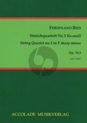 Ries Quartet Op.70 No.3 f-sharp minor 2 Violins-Viola and Violoncello (Score/Parts) (Jurgen Schmidt)