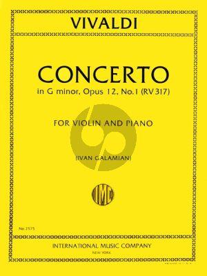 Vivaldi Concerto g-minor RV 317 Op.12 No.1 Violin-Str.-Bc (piano red.) (Galamian)