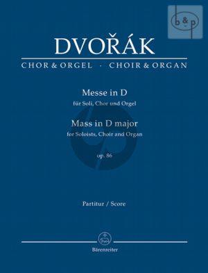 Dvorak Messe D-dur Op.86 Soli-Chor-Orgel (Ausgabe SATB-Orgel) (Burghauser)