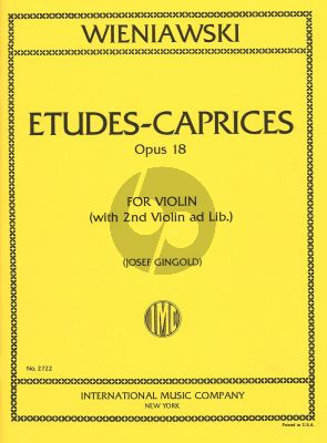 Wieniawski Etudes-Caprices Op.18 Violin (with 2nd violin) (Gingold)