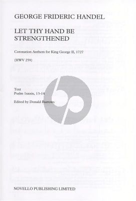 Handel Let thy Hand be Strengthened SAATB or SATB Vocalscore (Edited by Donald Burrows)