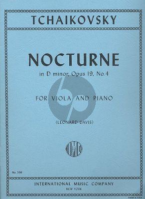 Tchaikovsky Nocturne Op.19 No.4 Viola-Piano (Transcribed by V. Borrissovsky) (Edited by Leonard Davis)