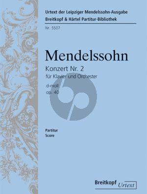 Mendelssohn Konzert No. 2 Op. 40 MWV O 11 Klavier und Orchester (Partitur) (Christoph Hellmundt)