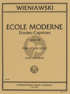 Wieniawski Ecole Moderne Op.10 Violin (Etudes-Caprices) (Galamian)