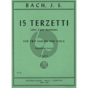 Bach 15 Terzetti BWV 787-801 (after Three Part Inventions) (for 2 Violins and Viola Parts ed. Ferdinand David)