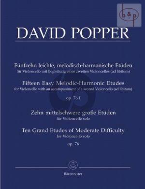 15 Etuden Op.76 Vol.1 + 2 (15 leichte mel.harm. Etuden + 10 mittelschwere grosse Etuden) (2.Cello ad lib.)