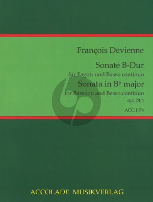 Devienne 6 Sonaten Op.24 No.4 B-dur Fagott-Bc (Jörg Dähler)