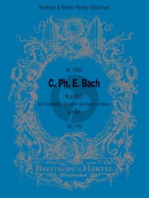 Bach Konzert a-moll WQ 170 Violoncello-Streicher-Bc Partitur (Ulrich Leisinger)