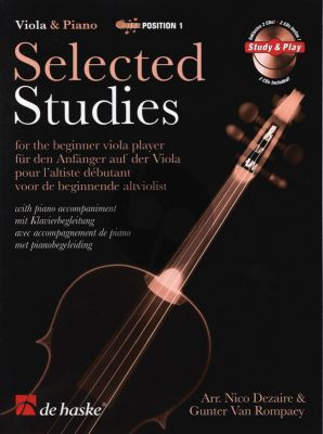 Dezaire-Rompaey Selected Studies for the beginner Viola Player (Bk- 2 Cd's) (1st Position + Piano Accompaniment)