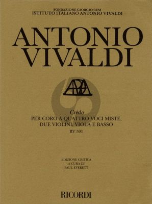 Vivaldi Credo RV 591 SATB-Strings-Bc Full Score (edited by Michael Talbot and Paul Everett)