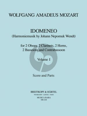 Mozart Idomeneo KV 366 Vol. 1 2 Ob- 2 Clar- 2 Hrns- 2 Bsns and Contrabsn (Score/Parts) (J.N. Wendt)