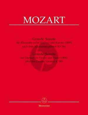 Mozart Grande Sonate nach Quintett KV 581 for Clarinet in A and Piano (Chr.Hogwood)