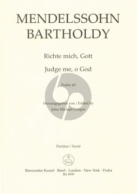 Mendelssohn Richte mich, Gott (Psalm 43) (SSAATTBB) (2 Versions) (English German) (Edited by John Michael Cooper)