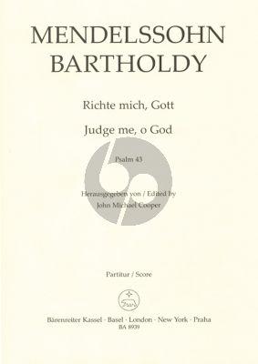 Mendelssohn Richte mich, Gott (Psalm 43) (SSAATTBB) (2 Versions) (English German) (Edited by John Michael Cooper)