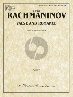 Rachmaninoff Valse and Romance Piano 6 hds (edited by Maurice Hinson)