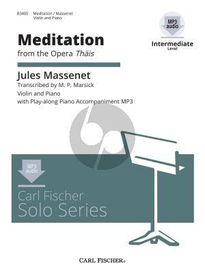 Massenet Meditation (from the Opera Thais) Violin-Piano (Bk-Cd) (Marsick) (Intermediate Level)