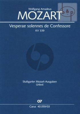 Mozart Vesperae Solennis de Confessore KV 339 (Soli-Choir-Orch.-Organ) (Vocal Score)