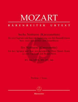 Mozart 6 Notturni (Canzonettas) KV 346(439a)- 436 - 439 - 549 (3 Voices[SSB]- 3 Bassethorns[2 Clar.- Bassethorn]) (Score)