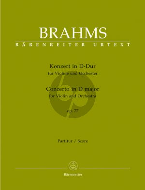 Brahms Concerto D-Major Op.77 Violin-Orchestra Fullscore (Edited by Clive Brown) (Barenreiter-Urtext)