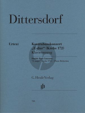 Dittersdorf Concerto E-major (Krebs 172) (Double bass-Orch.) (piano red.) (Henle-Urtext)