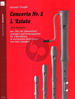 Vivaldi Concerto No.2 L'Estate Op.8 No.2 RV 315 (4 Recorders [ATTB/ATBB) (Score/Parts) (Cassignol) (very advanced)