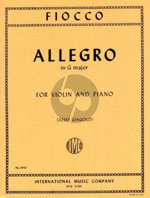 Fiocco Allegro G-major Violin and Piano (edited by Josef Gingold)