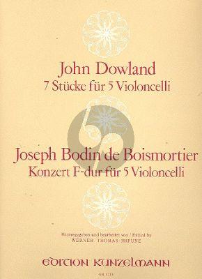 Concerto F-dur / 7 Stucke 5 Violoncellos (Stimmen) (Thomas-Mifune)