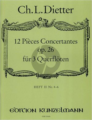 Dietter 12 Pieces Concertantes Op.26 Vol.2 3 Flöten (Part./Stimmen) (Ingo Gronefeld)