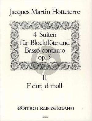 Hotteterre 4 Suiten Op.5 Vol.2 (No.3-4) Altblockflöte-Bc (Hans Maria Kneihs)