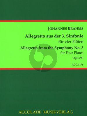 Brahms Poco Allegretto (from Symphony No.3) 4 Flutes (Score/Parts) (arr. Guy du Cheyron)