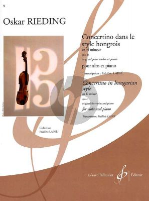 Rieding Concertino in Hungarian Style Op.21 d-minor Viola-Piano (transcr. by Frederic Laine) (interm. grade 5)