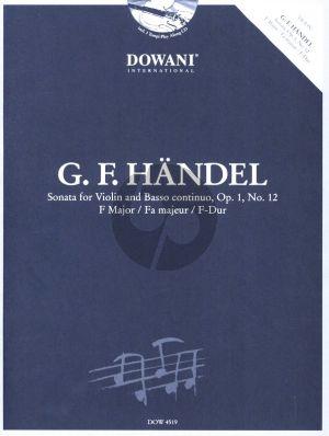 Handel Sonate F-Dur Op. 1 No. 12 Violin and Bc (Bk-Cd) (Dowani 3 Tempi Play-Along)