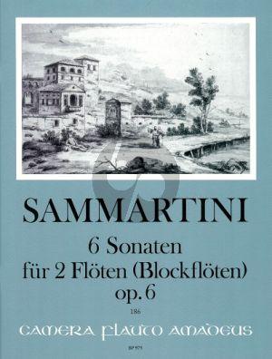 Sammartini 6 Sonatas Op. 6 2 Flöten [Oboes / Blockflöten] (Spielpartitur) (Bernhard Pauler)