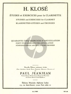 Klose 45 Exercises d'Articulation pour la Clarinette (Paul Jeanjean)