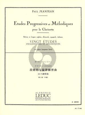 Jeanjean 20 Etudes Progressives et Melodiques Vol.2 Clarinet (Moyenne Force)