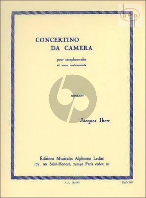 Ibert Concertino da Camera Saxophone alto et 11 Instruments (piano reduction)