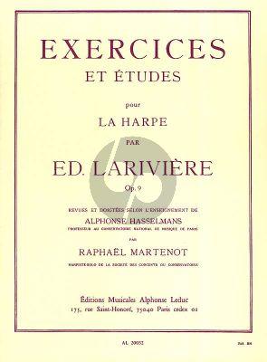 Lariviere Exercises et Etudes Op. 9 Harpe (Martenot-Hasselmans)