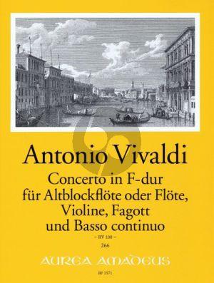 Vivaldi Concerto F-major RV 100 (Treble Rec.[Fl.)-Vi.-Bassoon-Bc) (Score/Parts) (edited by B. Pauler) (Continuo by W.Kostujak)