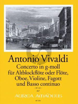 Vivaldi Concerto g-minor RV 105 (Treble Rec.[Fl.]-Ob.- Vi.-Bassoon-Bc) (Score/Parts)