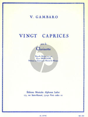 Gambaro 20 Caprices pour Clarinette (Ulysse Delécluse)
