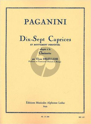 Paganini 17 Caprices et Mouvement Perpetuel Clarinette (Delecluse)