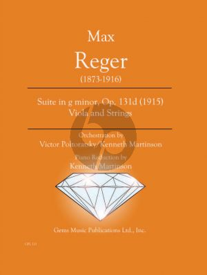 Reger Suite g-minor Op.131d (Viola-Strings) red. Viola - Piano (Orchestration by Victor Pltoratsky and Kenneth Martinson) (Urtext)