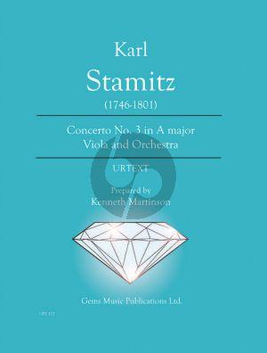 Stamitz Concerto No.3 A-major (Viola-Orch.) Viola - Piano (Prepared and Edited by Kenneth Martinson) (Urtext)