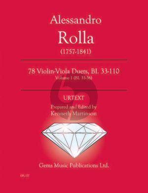 Rolla 78 Duets Volume 1 BI.33 - 36 Violin - Viola (Prepared and Edited by Kenneth Martinson) (Urtext)