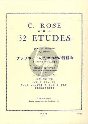 Rose 32 Etudes d'apres Ferling Clarinette (Pierre Lefebvre)
