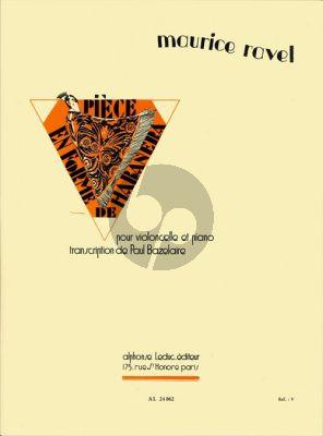 Ravel Piece en forme de Habanera Violoncello and Piano (transcription Paul Bazelaire)