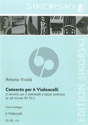 Vivaldi Concerto (after Concerto for 2 Violoncellos e Basso RV 418) (6 Violoncellos) (Score/Parts) (arr. David Geringas)